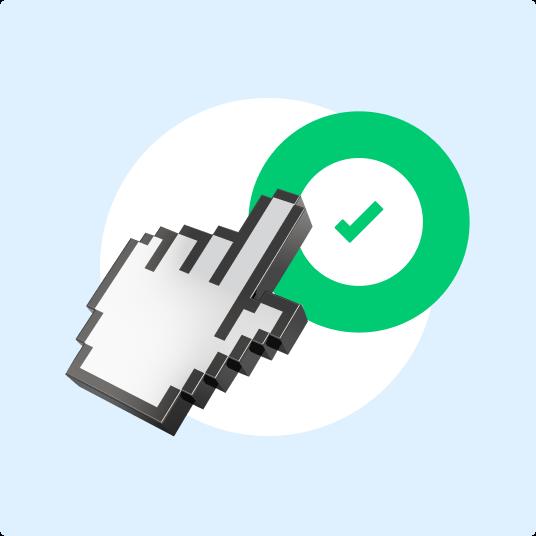 Cursor click on green V